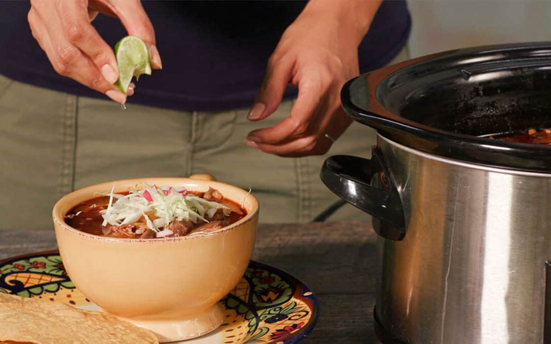 Slow Cooker Pork Pozole with Red Chile